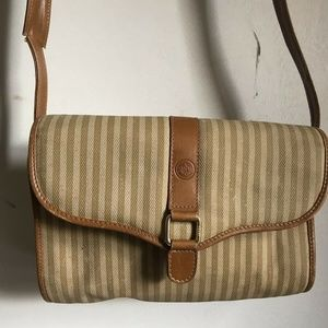 Fendi Vintage Small Beige Stripe Fabric Crossbody